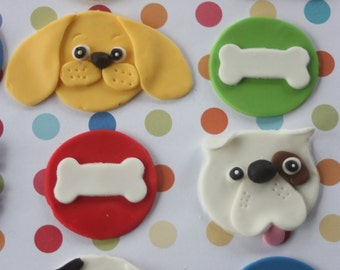 12 fondant cupcake toppers--dog and bone, puppies