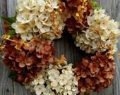 Fall Wreath - Autumn Wreath - Outdoor Wreath -  Hydrangea Door Wreath - Door Wreath
