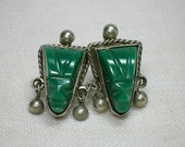 Mexican Sterling Earrings, Chrysoprase Screw On circa 1950s, 925 Silver