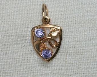 Soviet 583 Rose Gold Pendant, Lab Alexandrite & Leaves, 14K. Odessa, Ukraine