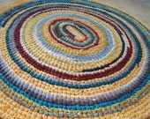 Oval Blues & Yellow, Cranberry, Sage, Turquoise Repurposed Rag Rug