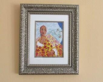 Folk Art Mexican Tehuana butterfly framed print