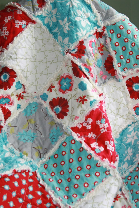 Lilac teal nursery : Crib rag quilt baby girl bedding seaside cottage gray teal red ...