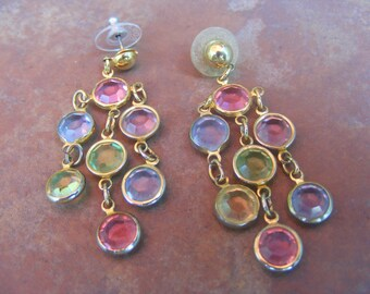 Vinage Cabachon Setting Earings-Fun and Funky-Colorful Dangles
