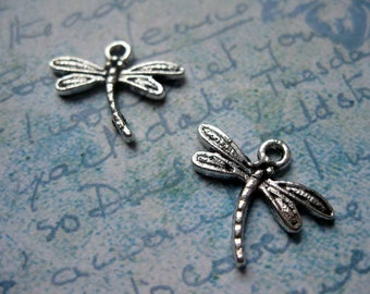 SALE - 10 Dragonfly Charms in Silver Tone - C1697