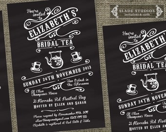 Chalkboard Vintage Bridal Tea invitations. Bridal Shower - high tea invitations printable.