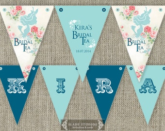 Vintage Bridal Tea with floral shabby chic detail Party Bunting Flags party decorations. Printable. DIY print at home.