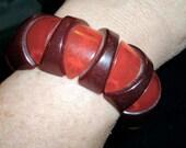 vintage carved bakelite stretch bangle bracelet red