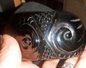 HUGE SALE bakelite bangle bracelet carved vintage massive black