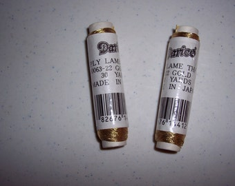 2 spools Darice Lame Thread - gold