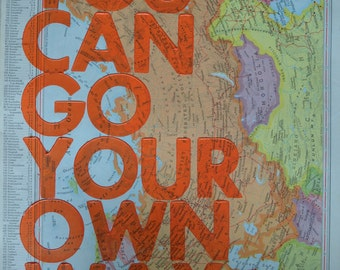 Soviet Union /  You Can Go Your Own Way/ Letterpress Print on Antique Atlas Page