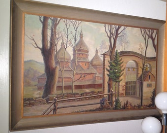 Early Vintage Original Oil Painting European Art Antique cityscape Framed