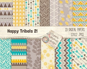 Aztec Tribal Digital Paper, Tribal Backgrounds, Arrows prints, geometric paper patterns, turquoise, yellow, brown, Native American paper