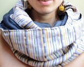 Double sided striped linen infinity scarf-cowl--natural fabric