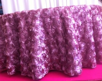 Custom Made Dusty Pink  Rosette Tabelcloth 108 inches Round