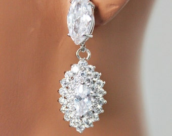 Marquise Clear Cubic Zirconia Wedding Earrings, Crystal Drop Bridal Earrings, Rhinestone Bridesmaids Earrings