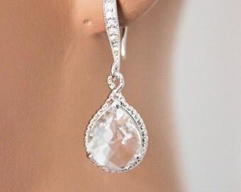 Crystal Clear Bridal Earrings, Bridal Jewelry, Rhinestone Earrings, Bridesmaids Gifts, Bridesmaids Jewelry. Wedding Jewelry