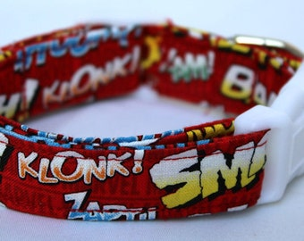 Comic Book Words Red Dog Collar Size XS, S, M or L