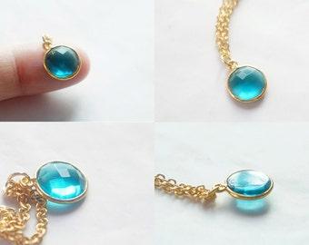 Round Swiss Blue Quartz Pendant Necklace - Gold Plated Bezel Gemstone Necklace - GS003