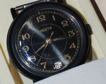 RAKETA - Russian Soviet Era Bright Wrist Watch New NOS Never Used Black Dial USSR