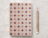 Travel Journal with Pencil, Recycled Brown Journal - Modern Geometric Patterns