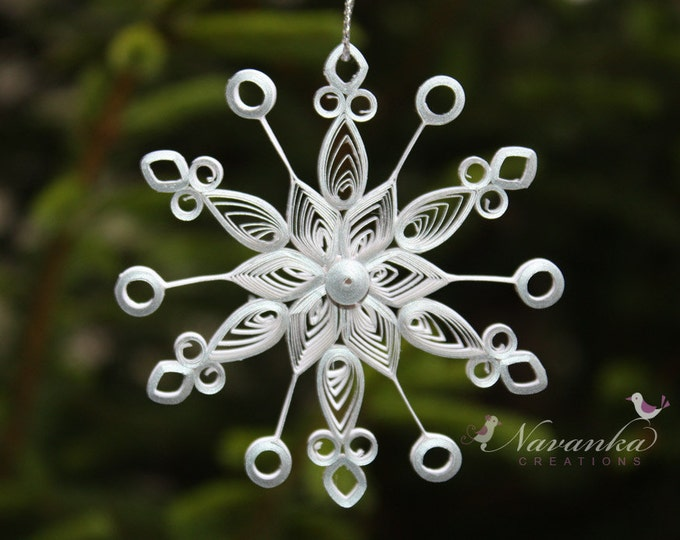 Paper Quilled Snowflake Ornament in White with a Touch of  Silver in a gift box, Paper Quilling Snowflake ornament in white and silver