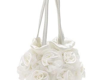flower girl purse, bags and purses, wedding bag, flower girl basket, petal purse. flower girl assessories, child purse, ivory purse