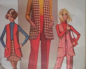 1970 Mod Wardrobe Mini-Skirt, Vest, and Pants Simplicity Sewing Pattern 8917, Size 10, Bust 32 1/2