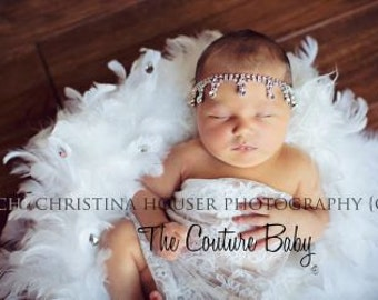 Tear Drop Rhinestone Crystal Halo Headband Preemie Newborn Infant Toddler Big Girl Halo Headband Photography Prop