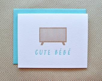 cute baby letterpress card