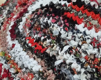 Red White Gray and Black Oval Crocheted Rag Rug