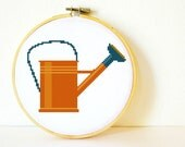Counted Cross stitch Pattern PDF. Instant download. Vintage Watering Can. Includes easy beginners instructions.