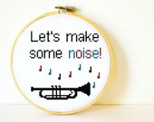 Counted Cross stitch Pattern PDF. Instant download. Noisy Trumpet. Includes easy beginners instructions.