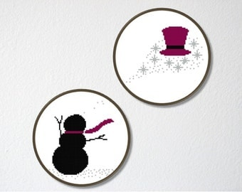 Counted Cross stitch Pattern PDF. Instant download. Snowman and his Hat Duo. Includes beginner instructions.