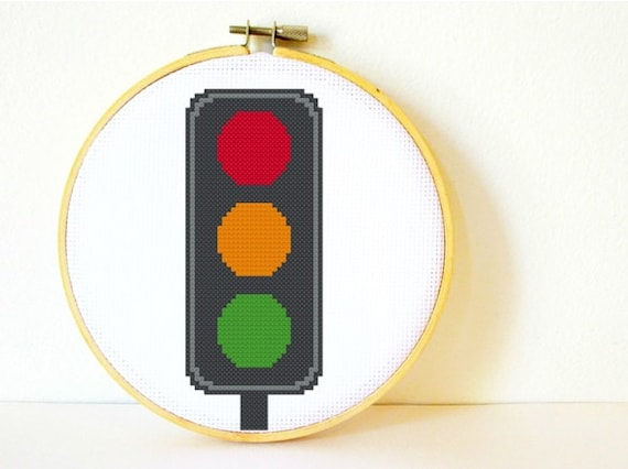 Cross stitch Pattern PDF. Instant download. Traffic Lights. Includes easy beginners instructions.