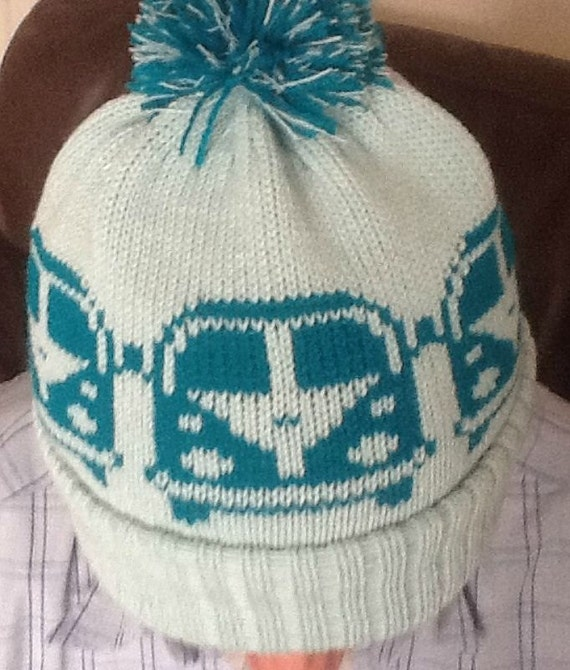 Vw Campervan Knitting Pattern : Knitted Beanie pompom bobble Hat VW Camper Van style Pale