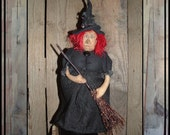 Standing soft sculpted red haired primitive Folk Art witch cloth doll HAGUILD HAFAIR OFG