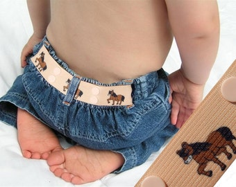 "Kids Belt - Elastic Snap Belt - ""Horses"""
