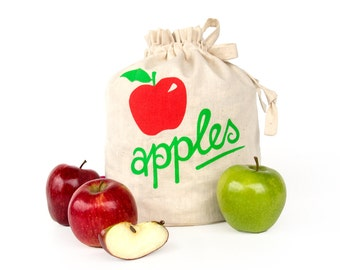 APPLES: Handmade reusable eco friendly fruit storage bag. Hemp organic cotton tote. Handprinted. Kitchen organizer. Apple storage.