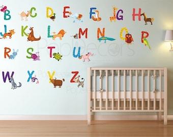 Kids Room Wall Stickers Playroom Printed Wall Decals - 26 Alphabet Animals Sticker - Animals Stickers Wall Murals prt0002