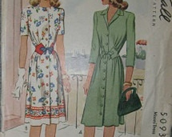 1943  McCall 5093 Size 12 Dress Sewing Pattern