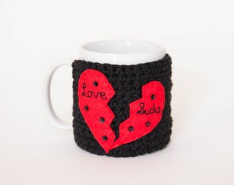 Anti-Valentine's Mug Cozy - Funny Mug Cozy - Black Valentine's Coffee Cozy