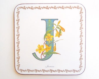 Vintage Pimpernel Coasters Alphabet Florals J for Jasmine Yellow Flowers Teal J Cork Backed Hardboard Coasters Set of 6 Made in England