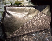 Gold Sequin & Leather Clutch Purse / Art Deco Gatsby Wedding / Gold Wedding Dress Accessory