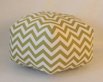 "Ready to Ship - 24"" Ottoman Pouf Floor Pillow Olive Green Cream Natural Zig Zag Chevron"