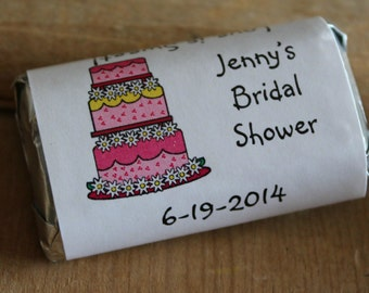 Wedding Cake Bridal Shower Wedding Candy Bar Wrappers  Rehearsal Dinner Favors Candy Wrappers