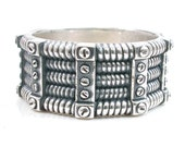 Mens Steampunk Riveted Band of Coils Silver Ring