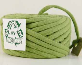 Recycled T Shirt Yarn, Avocado Green 39 Yrds , T- Shirt Yarn, Bulky Crafting Cord, 5-6WPI