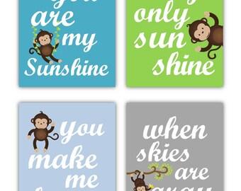 "Monkey Art For Kids // Monkey Nursery Art // Monkey Nursery Decor // You Are My Sunshine Art // Monkey Wall Art // Monkey 11x14"" PRINTS ONLY"