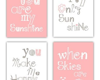 Pink Wall Art // Pink Art for Kids // You are my Sunshine Art // Pink and Gray Nursery Art Prints// Pink Nursery Decor // 4-8x10 PRINTS ONLY
